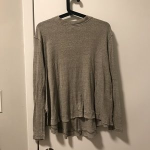 Free People Taupe Mock Neck Top